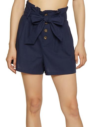 Paper Bag Waist Linen Shorts   1411054211512,NAVY,large