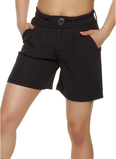 Belted Dress Shorts,BLACK,large