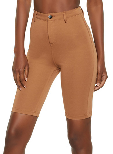 High Waisted Ponte Bermuda Shorts,BROWN,large