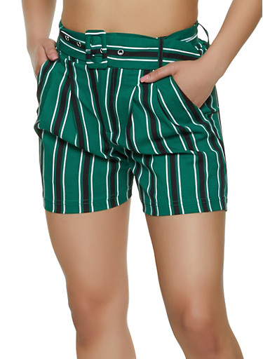 Belted Striped Shorts,GREEN,large
