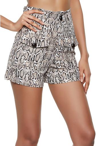 Snake Print High Waisted Shorts,BROWN,large
