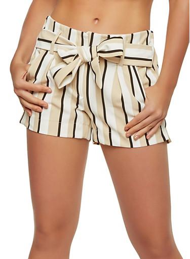 Striped Tie Waist Shorts,KHAKI,large
