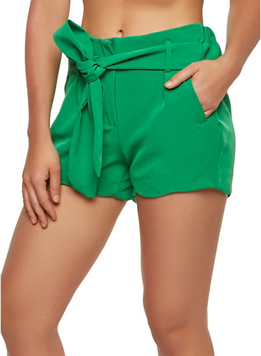 Scalloped Hem Tie Waist Shorts,GREEN,large