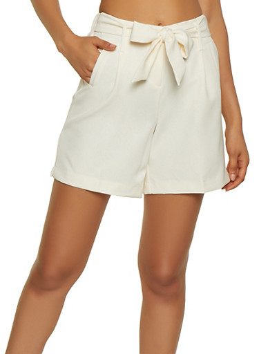 High Waisted Dress Shorts,IVORY,large