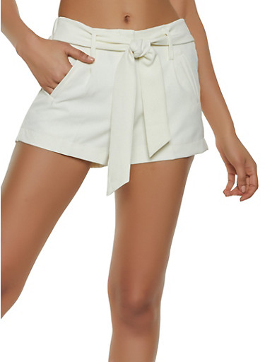 Tie Front Dress Shorts,IVORY,large