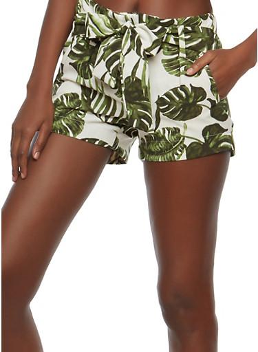 Tropical Print Tie Waist Shorts,WHITE,large