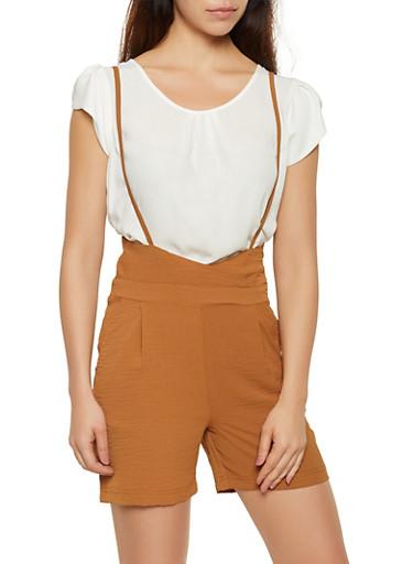 Crinkled Suspender Shorts,BROWN,large
