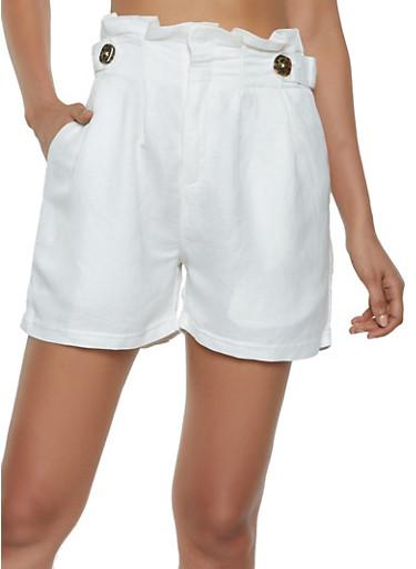 Linen Paper Bag Waist Shorts,WHITE,large