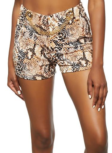 Printed Metallic Chain Detail Shorts,MAUVE,large