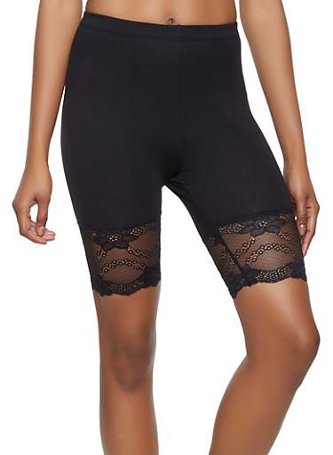 Lace Trim Bike Shorts,BLACK,large