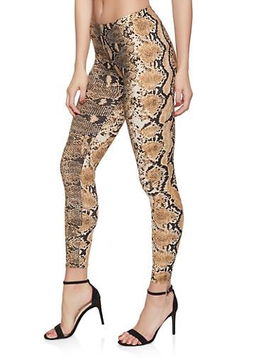 Snake Print Leggings,BROWN,large
