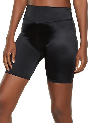 Shiny Spandex Bike Shorts,BLACK,large