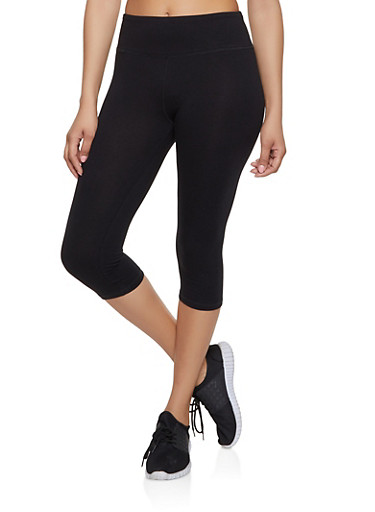 Solid Cropped Leggings | 1411062703258,BLACK,large