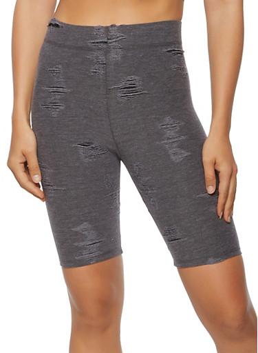 Distressed Biker Shorts,CHARCOAL,large