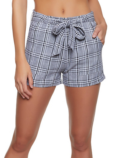 Plaid Belted Shorts,BLACK/WHITE,large