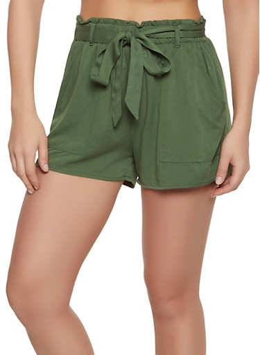 Twill Ruffled Shorts,GREEN,large