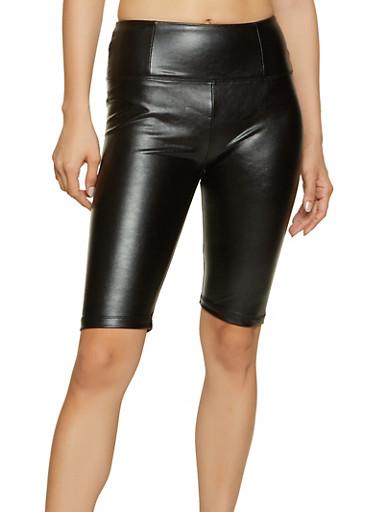 Faux Leather Bike Shorts,BLACK,large