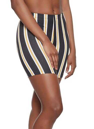 Striped Bike Shorts,BLACK,large