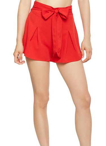 Tie Front Pleated Shorts,RED,large