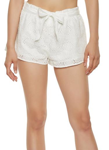 Tie Waist Eyelet Shorts,WHITE,large
