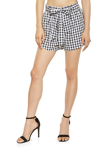 Printed Stretch Waist Shorts,WHT-BLK,large