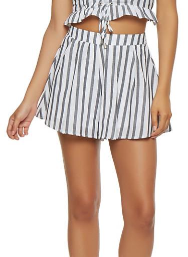 Striped Linen Shorts,BLACK/WHITE,large