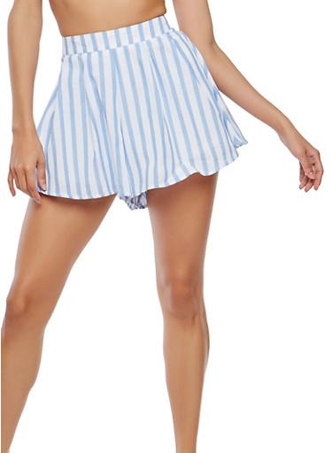 Striped Linen Shorts,BLUE,large