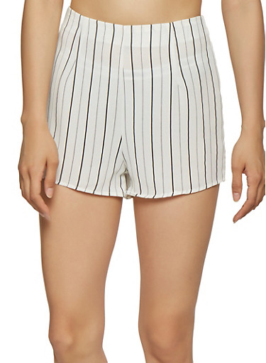 Striped Zip Back Shorts,WHITE,large