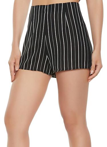 Striped Zip Back Shorts,BLACK/WHITE,large