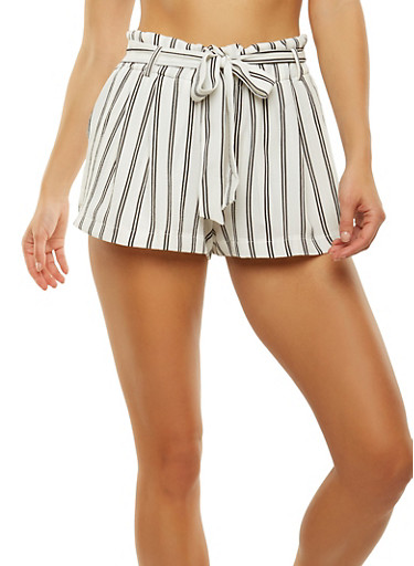 Striped Tie Waist Shorts,WHITE,large