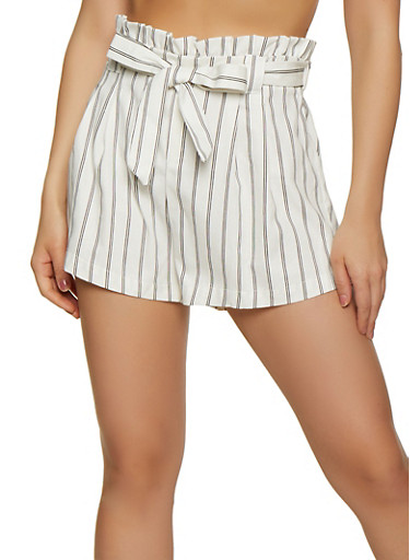 Striped Belted Shorts | 1411069393069,WHT-BLK,large