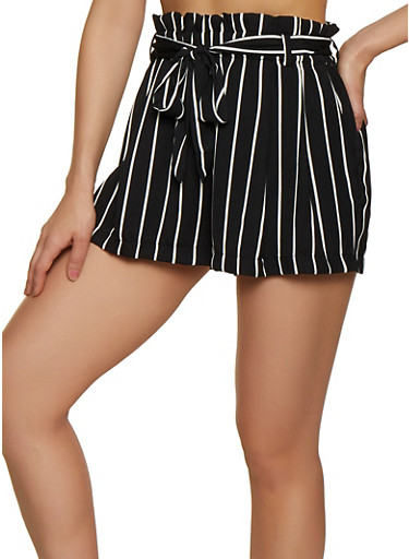 Striped Belted Shorts,BLACK/WHITE,large