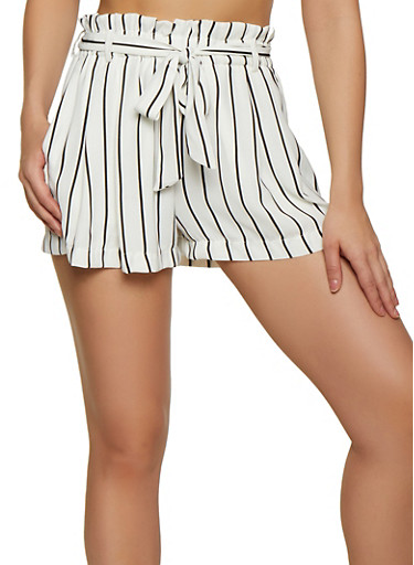Striped Belted Shorts by Rainbow