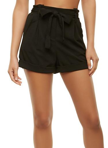 Belted Crepe Knit Shorts,BLACK,large