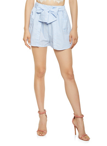 Striped Tie Front Overlay Shorts,BLUE,large