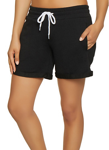 French Terry Lined Cuffed Sweatshorts,BLACK,large
