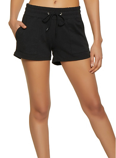 French Terry Lined Sweatshorts,BLACK,large