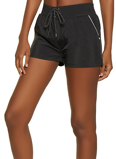 Lace Up Windbreaker Shorts,BLACK,large