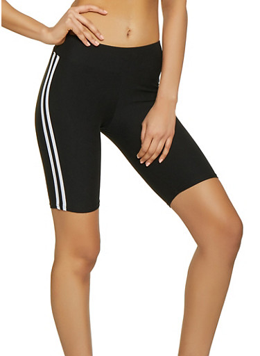 Varsity Stripe Bermuda Bike Shorts,BLACK,large