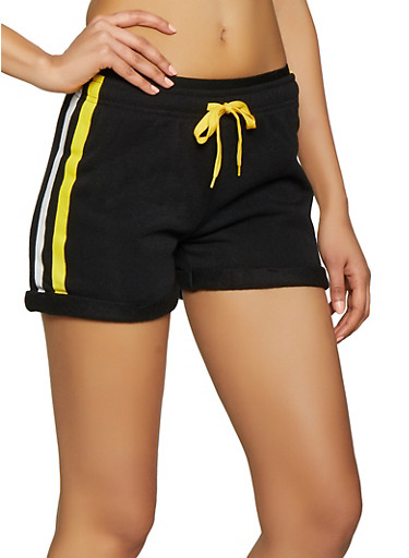 Varsity Stripe Sweat Shorts,BLACK,large