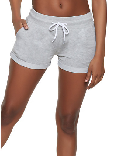 Fixed Cuff French Terry Shorts,HEATHER,large