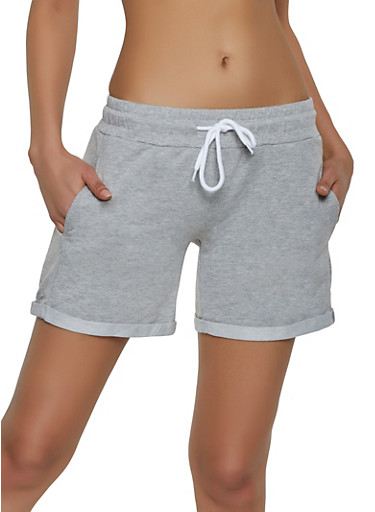 Cuffed French Terry Shorts,HEATHER,large