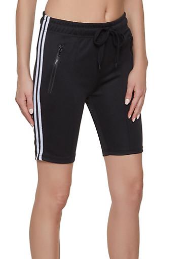 Zip Pocket Bermuda Shorts,BLACK,large