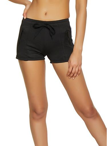 Varsity Stripe Track Shorts,BLACK,large