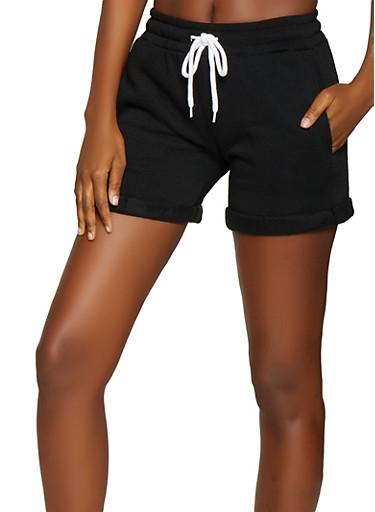 Fleece Sweat Shorts,BLACK,large