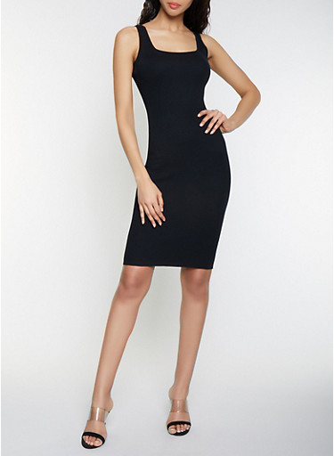 Sleeveless Rib Knit Midi Dress,BLACK,large