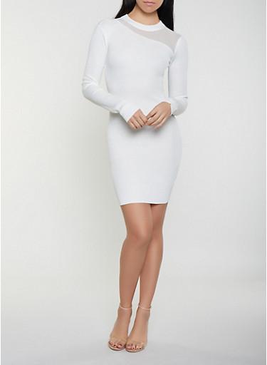 Mesh Yoke Sweater Dress,IVORY,large