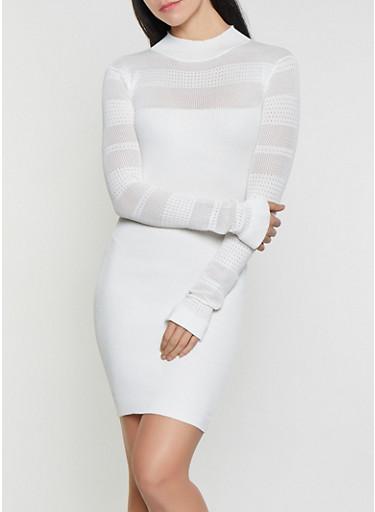 Pointelle Rib Knit Sweater Dress,IVORY,large