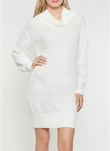 Cowl Neck Sweater Dress,IVORY,large
