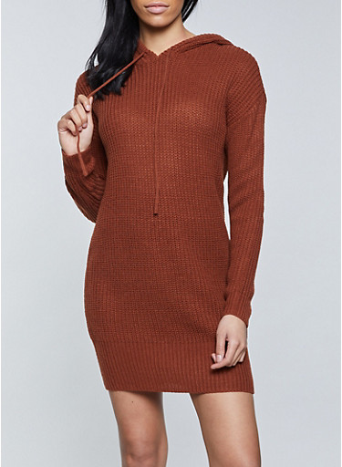 Solid Hooded Sweater Dress,RUST,large